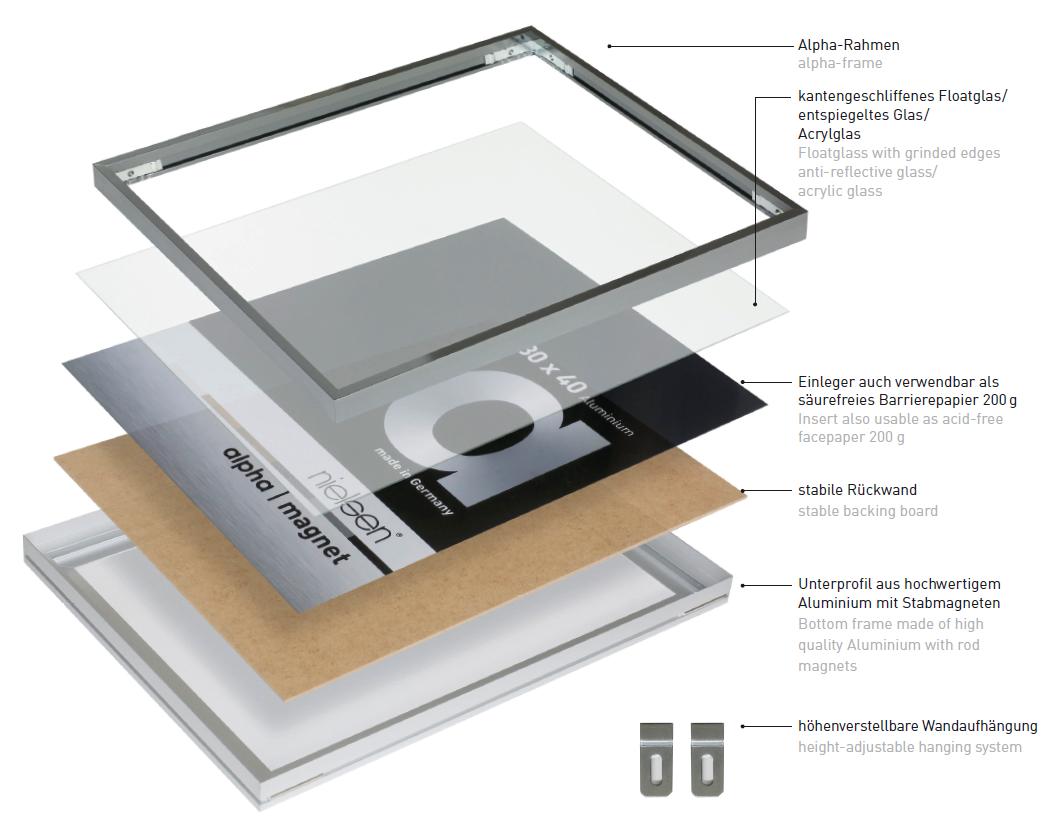 alpha magnet aluminium bilderrahmen produkte nielsen. Black Bedroom Furniture Sets. Home Design Ideas